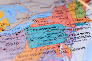 Pennsylvania state on a map